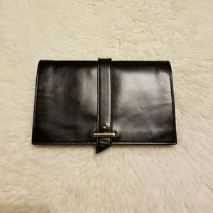 New Leather Cole Haan navy clue wallet clutch